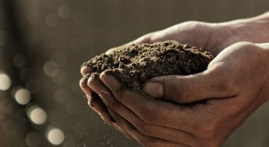 Hand with full soil