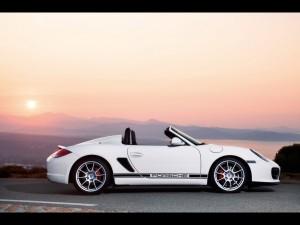 2009 White Porsche Boxster Spyder Side view