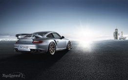 2011 Silver Porsche 911 GT2 RS wallpaper Rear angle view