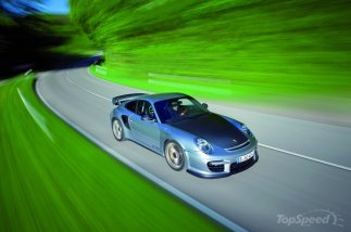 2011 silver Porsche 911 GT2 RS wallpaper Top angle view