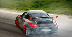 2010 Grey Black Guards Red Porsche 911 GT3 RS wallpaper Rear angle view