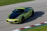 Peridot Metallic 2011 Porsche Cayman R Front angle top view