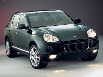 Porsche Cayenne Turbo 2003 wallpaper Front angle view