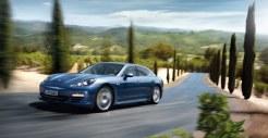 Aqua Blue Metallic Porsche Panamera 4S 2011 wallpaper Side angle view