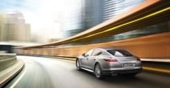 GT Silver Metallic Porsche Panamera Turbo 2011 wallpaper Rear angle view