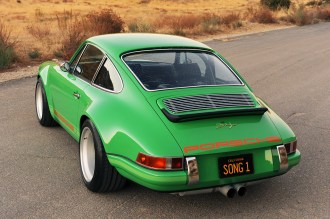 2011 Singer Racing Green Porsche 911 Rear angle view