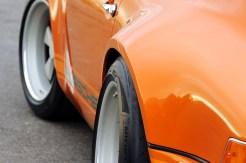 Singer Racing Orange Porsche 911 Angle side view