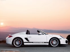 2010 White Porsche Boxster Spyder wallpaper Side view