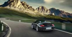 2011 Black Porsche 911 Turbo S Cabriolet Wallpaper Rear angle view