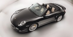 2011 Black Porsche 911 Turbo S Cabriolet Wallpaper Side angle top view