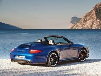 2011 Blue Porsche 911 Carrera GTS Wallpaper Rear angle side view