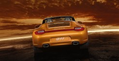 2011 Gold Porsche 911 Carrera 4 Cabriolet Wallpaper Rear view