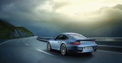 2011 Ice Blue Porsche 911 Turbo S Wallpaper Rear angle side view