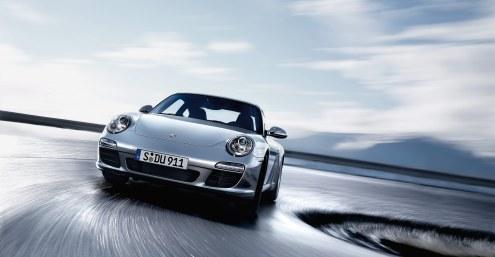 2011 Silver Porsche 911 Carrera Wallpaper Front angle view