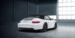 2011 White Porsche 911 Carrera GTS Cabriolet Wallpaper Rear angle view