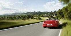 2011 Guards Red Porsche Boxster S wallpaper Rear view