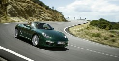 2011 Porsche Racing Green Metallic Boxster Side angle Front view
