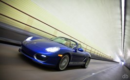 Blue 2011 Porsche Boxster Spyder Front angle view
