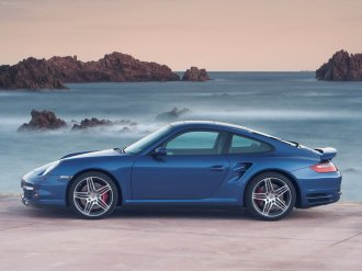 2007 Blue Porsche 911 Turbo Wallpaper Side view