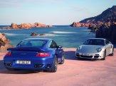 2007 Blue Porsche 911 Turbo Wallpaper Rear angle view