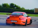 2007 Orange Porsche 911 GT3 RS Wallpaper Rear angle view