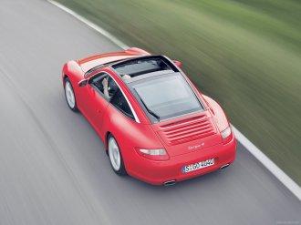 2007 Red Porsche 911 Targa 4 Wallpaper Rear angle top view