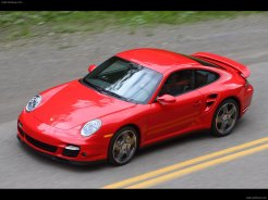2007 Red Porsche 911 Turbo Wallpaper Front angle side view