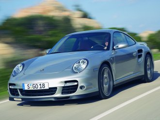 2007 Silver Porsche 911 Turbo Wallpaper Front side angle view