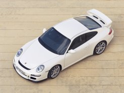 2007 White Porsche 911 GT3 Wallpaper Side angle top view