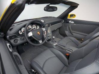 2008 Yellow Porsche 911 Turbo Cabriolet Wallpaper Interior