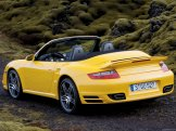 2008 Yellow Porsche 911 Turbo Cabriolet Wallpaper Rear angle view