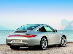 2009 Silver Porsche 911 Targa 4 Wallpaper Rear angle side view