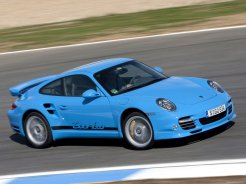 2010 Blue Porsche 911 Turbo Wallpaper Front angle side view