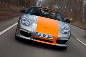 Electric Porsche Boxster E First drive Front view In motion