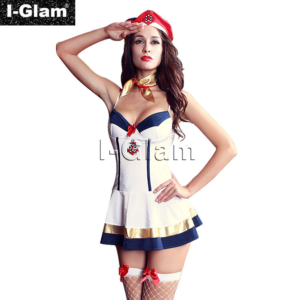 I Glam Womens Sexy Lingerie Costume Cosplay Stewardess