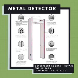 Metal detector with infrared temperature measurement