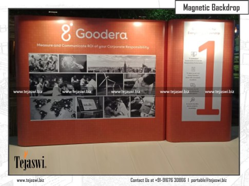 Portable customised backdrops for Goodera