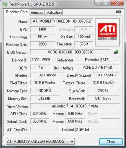 GPU-Z ATI Radeon Mobility HD 3870