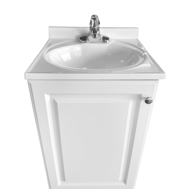 single basin self contained sink spa white wood cabinet with cultured marble counter top model psw 009a