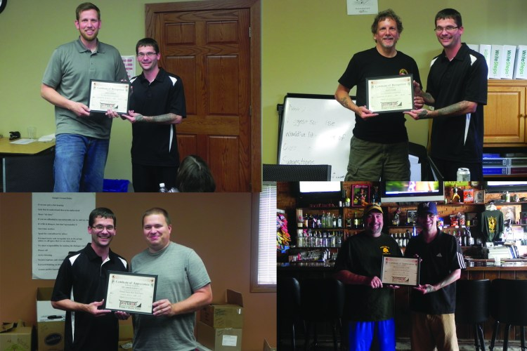 PFSP shows their appreciation to those volunteers, committee members and local business owners. Top Left Jared Pierson, top right Rusty Cline, bottom left Mike O'Brion and bottom right Kevin Malone All receiving recognition for outstanding volunteer service also above and beyond commitment to the Portage Family Skate Park Project.