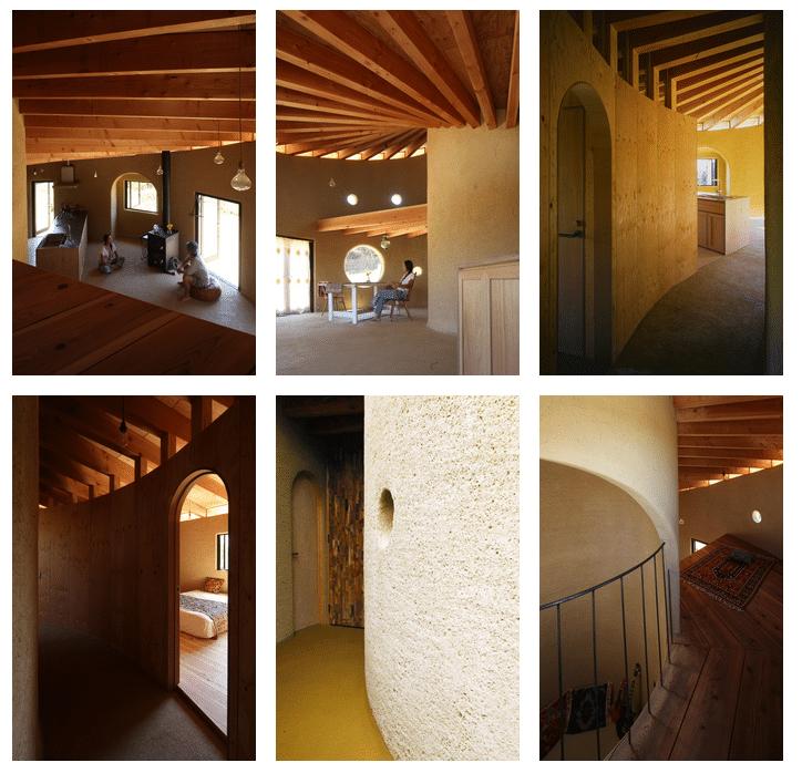 , Casa ecológica en espiral construida con madera, tierra y techo verde.