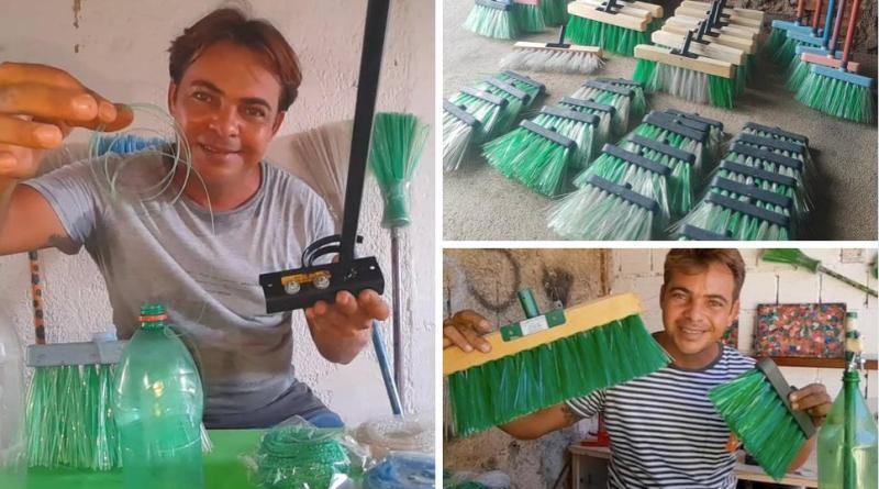 , Joven convierte botellas de plástico en escobas y es una celebridad del reciclaje en YouTube