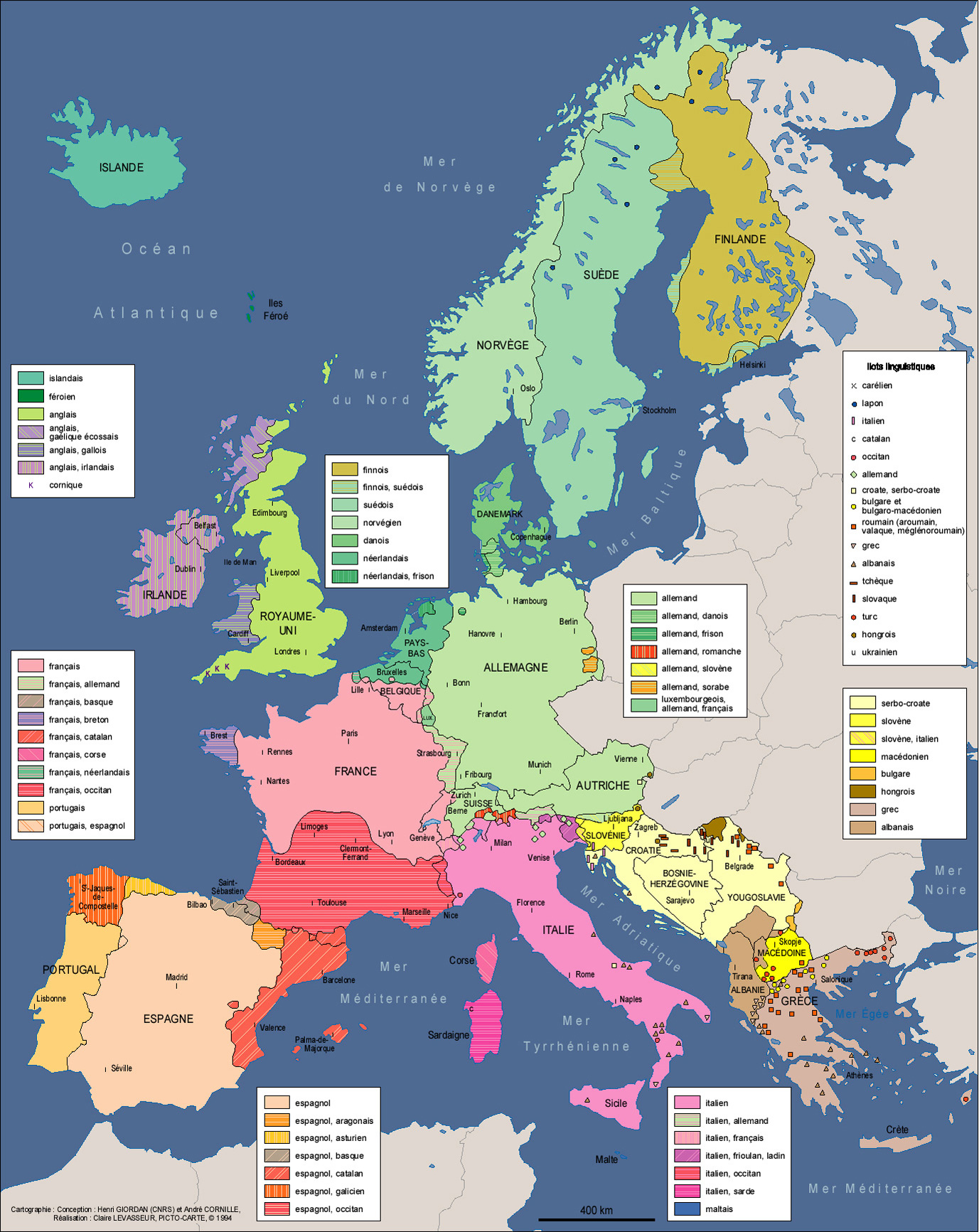 Carte des langues d'Europe