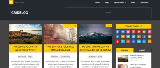 Gridblog template wordpress gratis