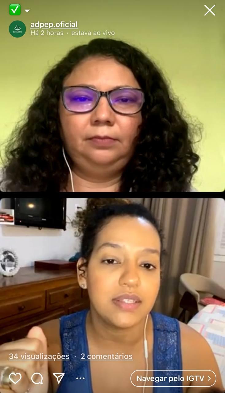 ADPEP promove live com a Defensora Pública Daiane dos Santos e a Vereadora Lívia Duarte sobre luta das mulheres por direitos