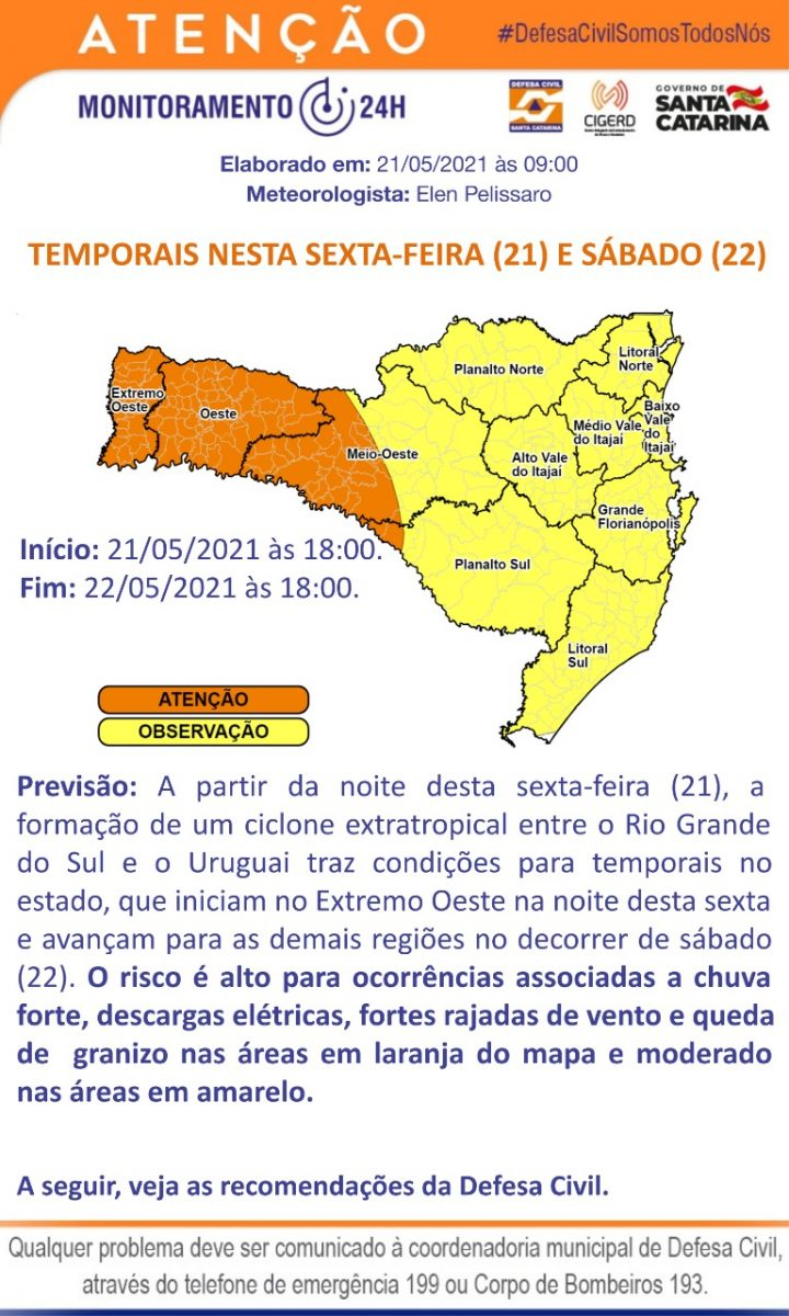 Defesa Civil alerta para possível ocorrência de temporais