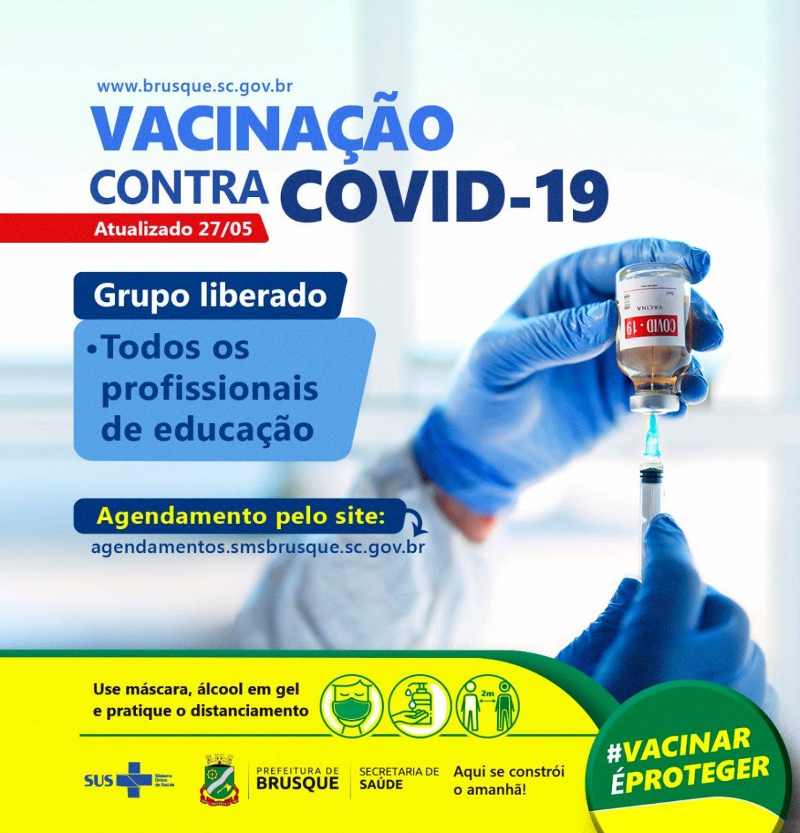 Covid-19: Brusque abre agendamento para todos os profissionais de educação