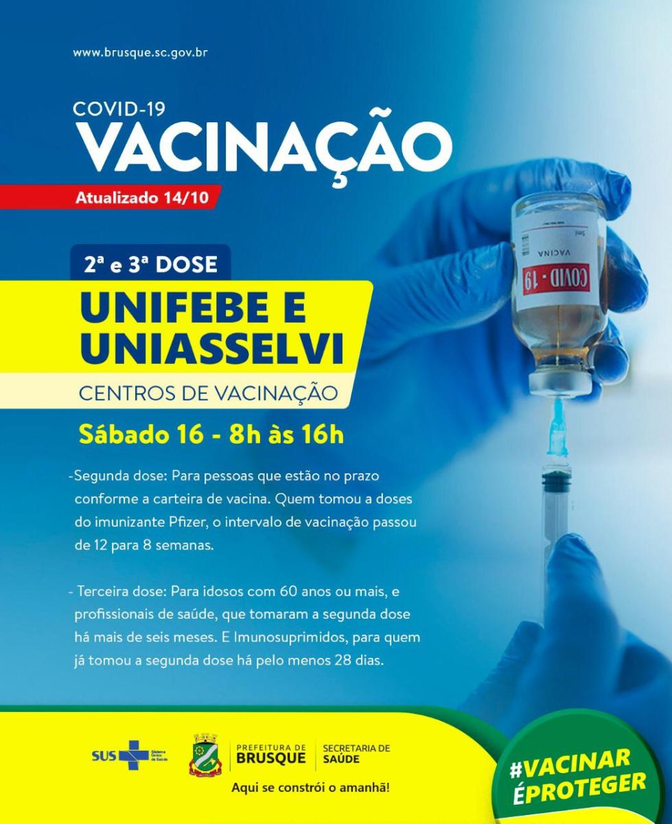 Covid-19: Centros de Vacinação estarão abertos no sábado (16)