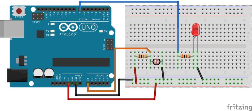 Circuito Ldr : Sensor de luz com ldr e arduino portal vida silício