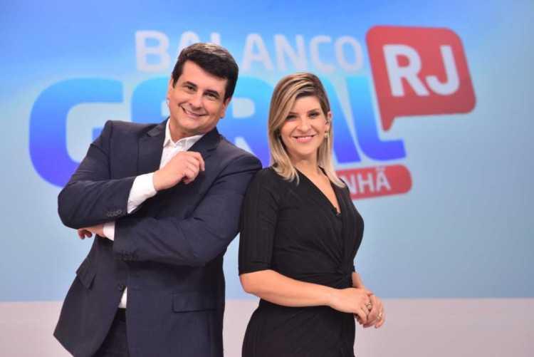 Gustavo Marques e Lívia Mendonça na Record TV Rio